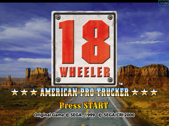 Title screen of the game 18 Wheeler - American Pro Trucker on Nintendo GameCube