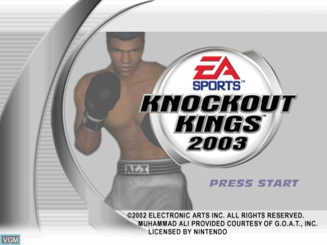 Title screen of the game Knockout Kings 2003 on Nintendo GameCube
