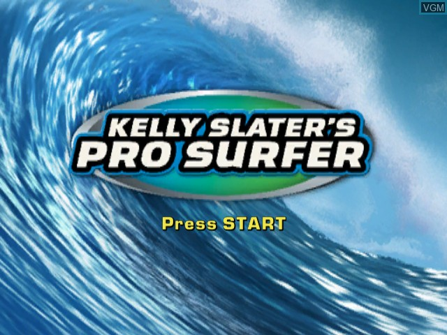 Title screen of the game Kelly Slater's Pro Surfer on Nintendo GameCube