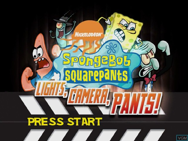 Title screen of the game SpongeBob SquarePants - Lights, Camera, Pants! on Nintendo GameCube
