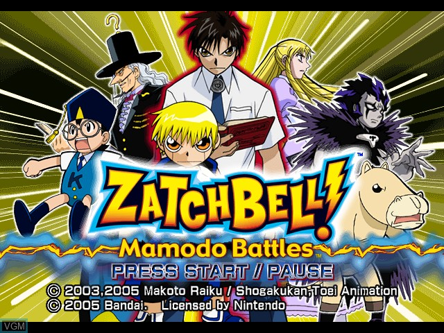 Title screen of the game Zatch Bell! Mamodo Battles on Nintendo GameCube