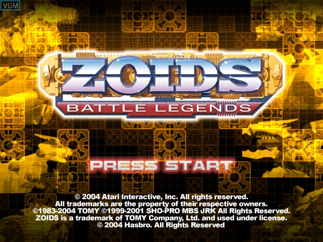 Title screen of the game Zoids - Battle Legends on Nintendo GameCube