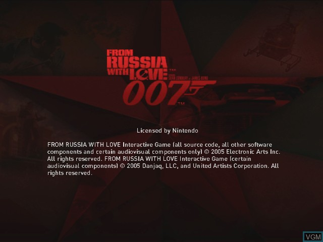 Title screen of the game 007 - From Russia with Love on Nintendo GameCube
