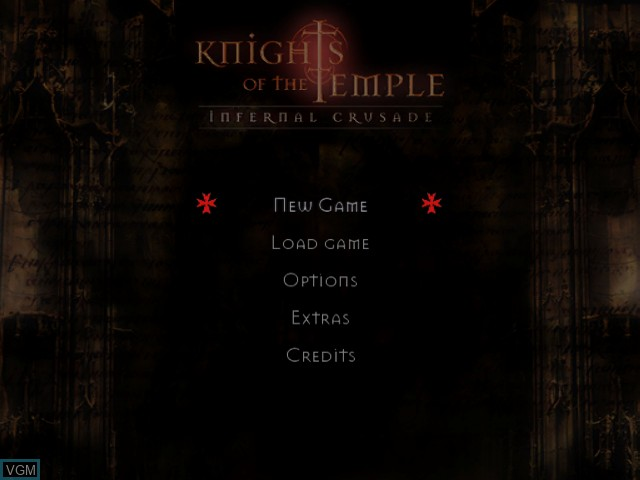 Title screen of the game Knights of the Temple - Infernal Crusade on Nintendo GameCube
