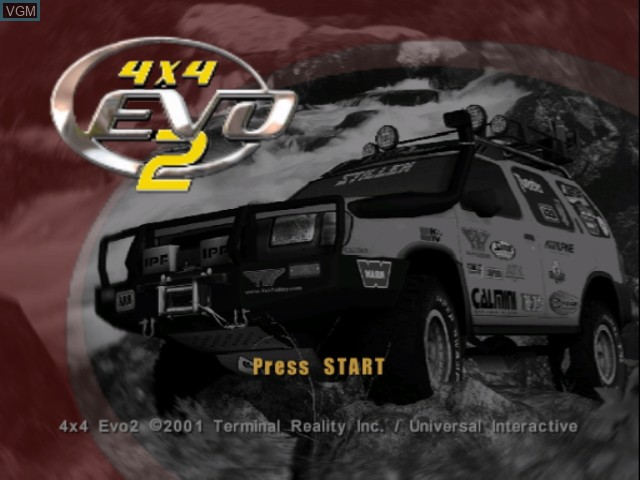 Title screen of the game 4x4 Evo 2 on Nintendo GameCube