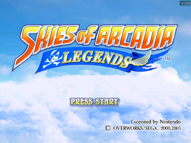 Title screen of the game Skies of Arcadia Legends on Nintendo GameCube