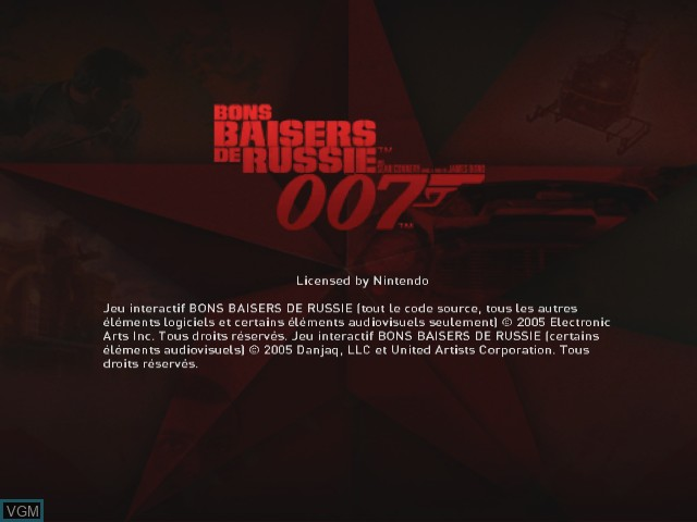 Title screen of the game 007 - Bons Baisers de Russie on Nintendo GameCube