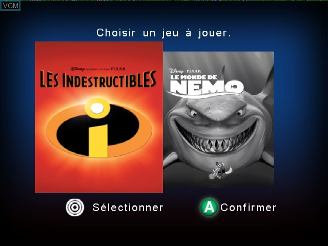 Title screen of the game 2 Games in 1 - Disney-Pixar Les Indestructibles + Disney-Pixar Le Monde de Nemo on Nintendo GameCube