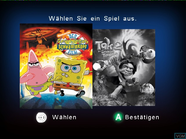 Title screen of the game 2 Games in 1 - Nickelodeon SpongeBob Schwammkopf - Der Film + Nickelodeon Tak 2 - Der Stab der Traeume on Nintendo GameCube