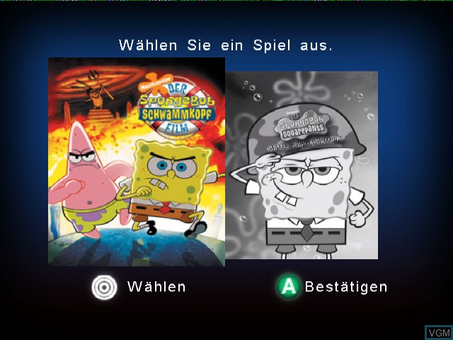 Title screen of the game 2 Games in 1 - Nickelodeon SpongeBob Schwammkopf - Der Film + Nickelodeon SpongeBob Schwammkopf - Schlacht um Bikini Bottom on Nintendo GameCube