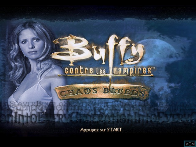 Title screen of the game Buffy contre les Vampires - Chaos Bleeds on Nintendo GameCube