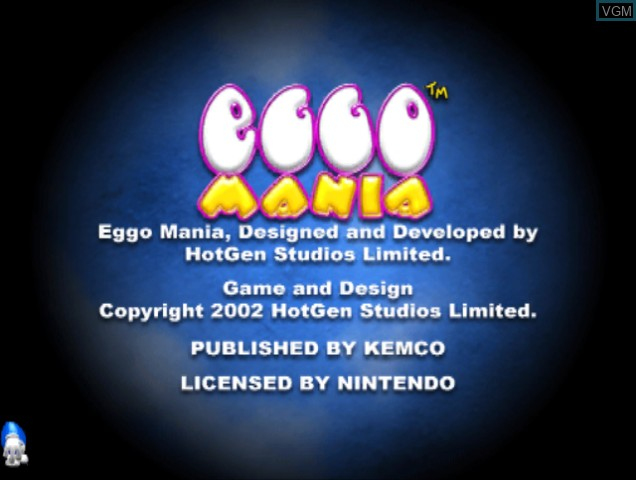 Title screen of the game Eggo Mania on Nintendo GameCube