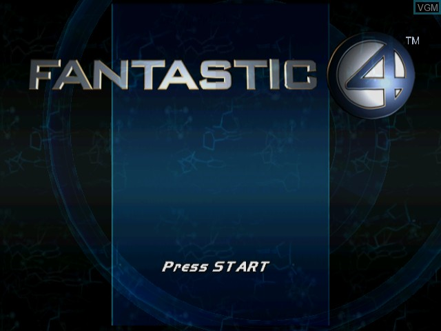 Title screen of the game Fantastic 4 on Nintendo GameCube