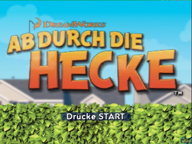Title screen of the game Ab durch die Hecke on Nintendo GameCube
