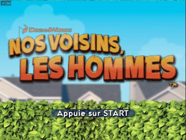 Title screen of the game Nos Voisins, les Hommes on Nintendo GameCube