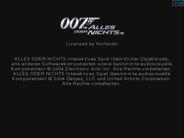 Title screen of the game 007 - Alles oder Nichts on Nintendo GameCube