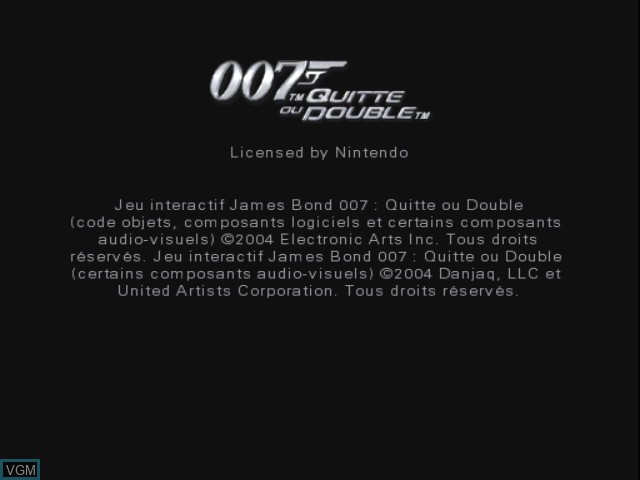 Title screen of the game 007 - Quitte ou Double on Nintendo GameCube