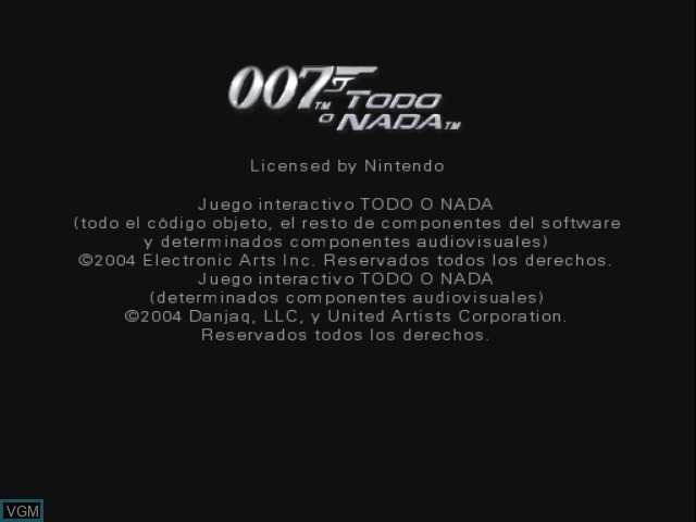 Title screen of the game 007 - Todo o Nada on Nintendo GameCube