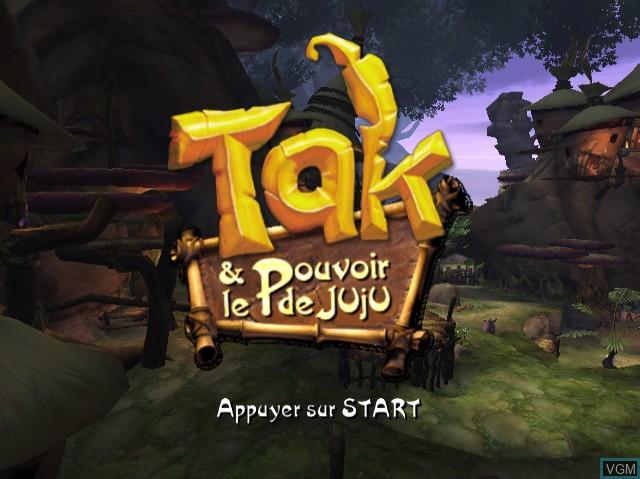 Title screen of the game Tak & Le Pouvoir de Juju on Nintendo GameCube