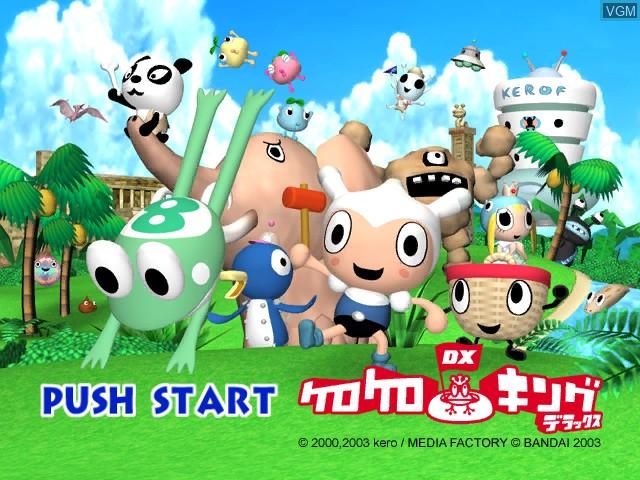 Title screen of the game Kero Kero King DX on Nintendo GameCube