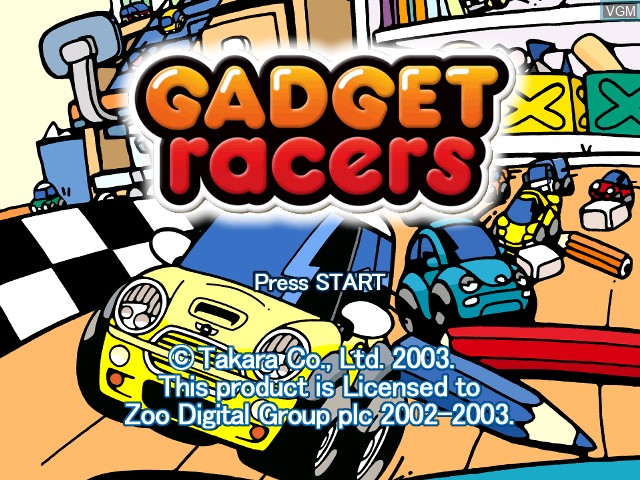 Title screen of the game Gadget Racers on Nintendo GameCube