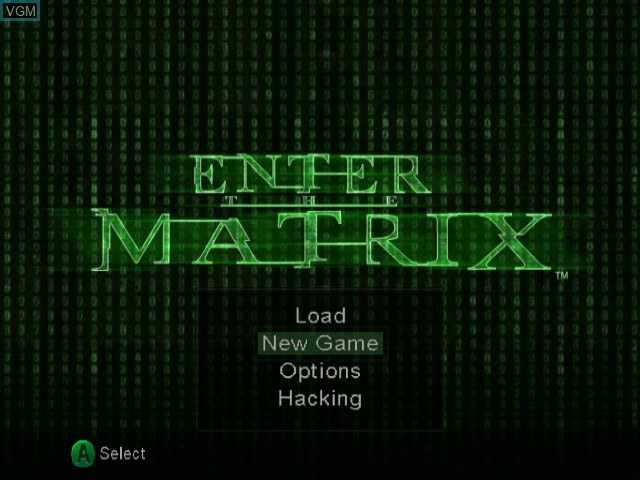 Title screen of the game Enter the Matrix on Nintendo GameCube