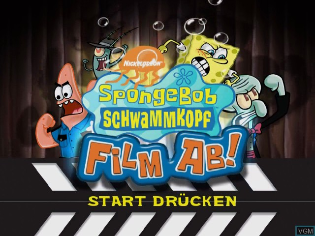 Title screen of the game SpongeBob Schwammkopf - Film ab! on Nintendo GameCube