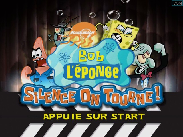 Title screen of the game Bob L'eponge - Silence on Tourne! on Nintendo GameCube