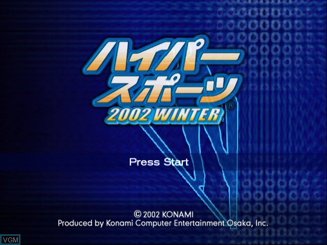 Title screen of the game Hyper Sports 2002 Winter on Nintendo GameCube