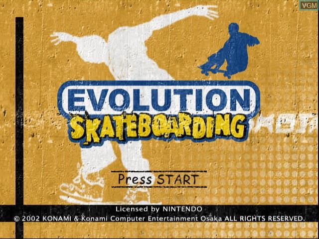 Title screen of the game Evolution Skateboarding on Nintendo GameCube