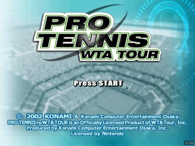 Title screen of the game Pro Tennis WTA Tour on Nintendo GameCube