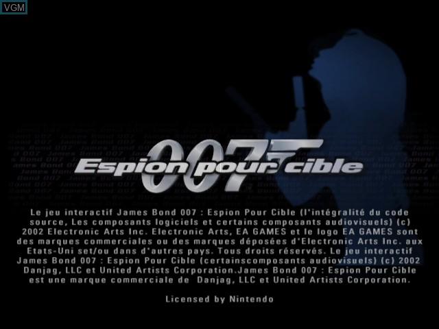 Title screen of the game 007 - Espion pour Cible on Nintendo GameCube