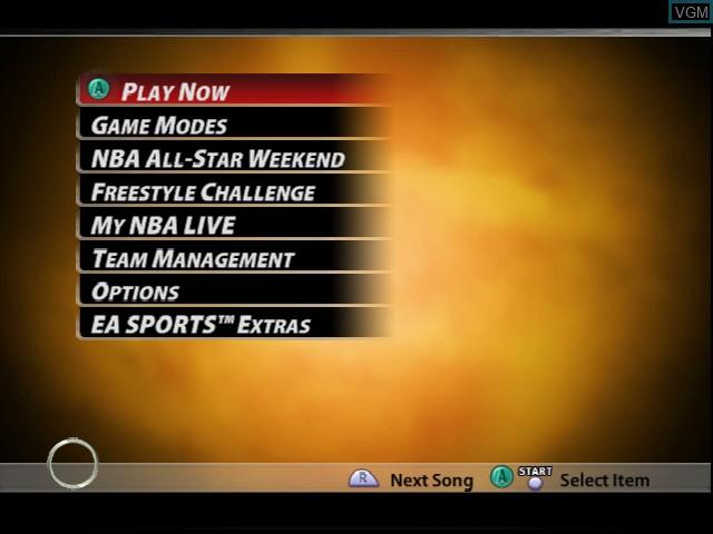 Menu screen of the game NBA Live 2005 on Nintendo GameCube