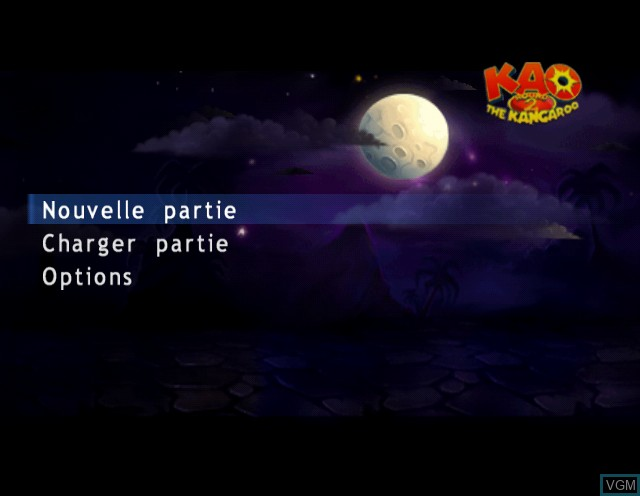 Menu screen of the game Kao the Kangaroo - Round 2 on Nintendo GameCube