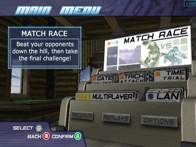 Menu screen of the game 1080 Silver Storm on Nintendo GameCube