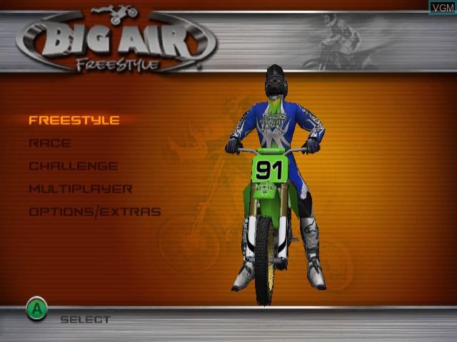 Menu screen of the game Big Air Freestyle on Nintendo GameCube