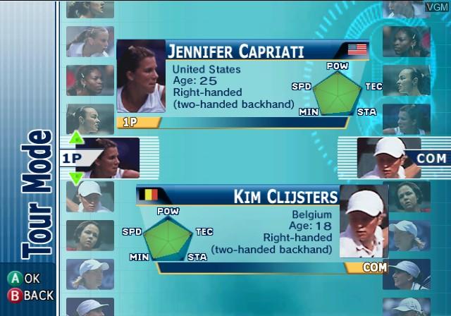 Menu screen of the game WTA Tour Tennis - Pro Evolution on Nintendo GameCube