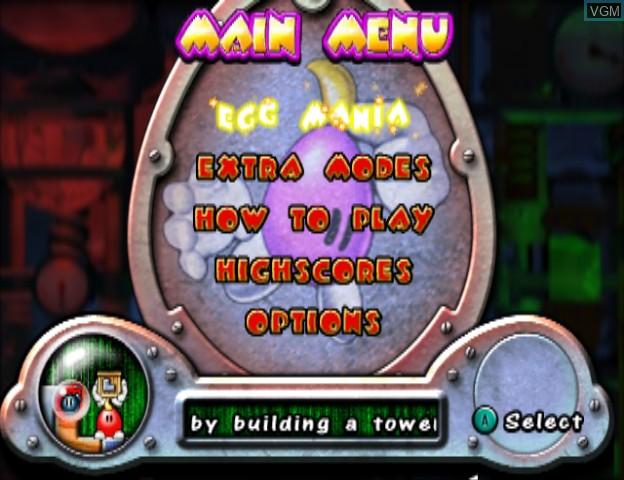 Menu screen of the game Egg Mania - Eggstreme Madness on Nintendo GameCube