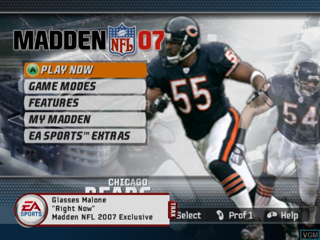 Menu screen of the game Madden NFL 07 on Nintendo GameCube