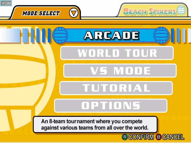 Menu screen of the game Beach Spikers - Virtua Beach Volleyball on Nintendo GameCube