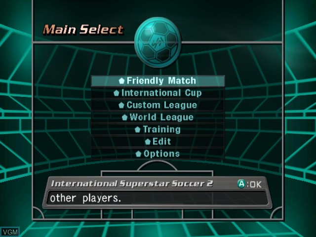 Menu screen of the game International Superstar Soccer 2 on Nintendo GameCube