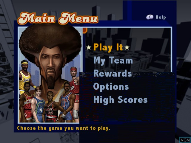 Menu screen of the game NBA Street Vol. 2 on Nintendo GameCube