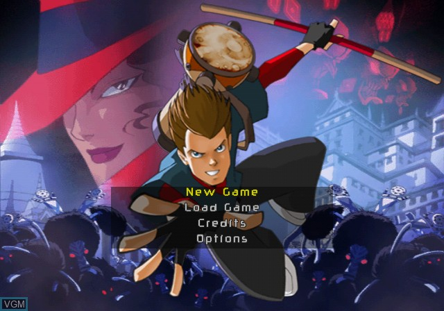 Menu screen of the game Carmen Sandiego - The Secret of the Stolen Drums on Nintendo GameCube