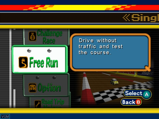 Menu screen of the game Road Trip - The Arcade Edition on Nintendo GameCube