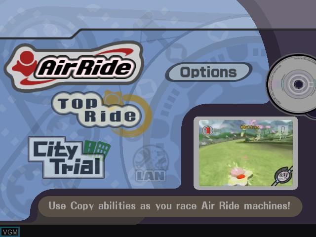 Menu screen of the game Kirby Air Ride on Nintendo GameCube