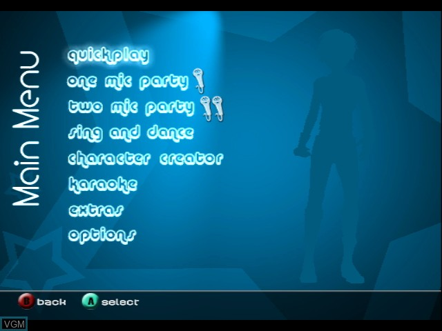 Menu screen of the game Karaoke Revolution Party on Nintendo GameCube
