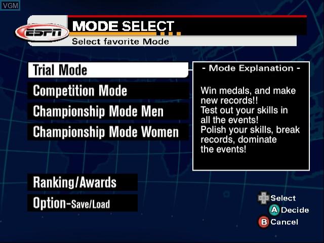 Menu screen of the game ESPN International Winter Sports 2002 on Nintendo GameCube