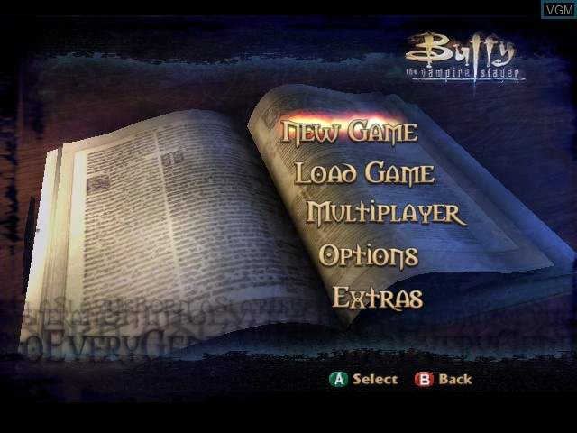 Menu screen of the game Buffy the Vampire Slayer - Chaos Bleeds on Nintendo GameCube