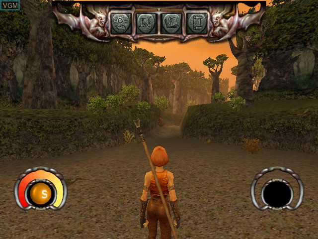 Menu screen of the game Darkened Skye on Nintendo GameCube