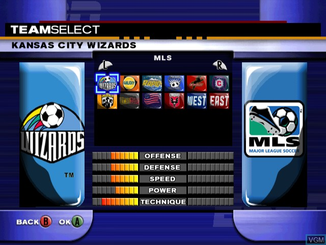 Menu screen of the game ESPN MLS ExtraTime 2002 on Nintendo GameCube